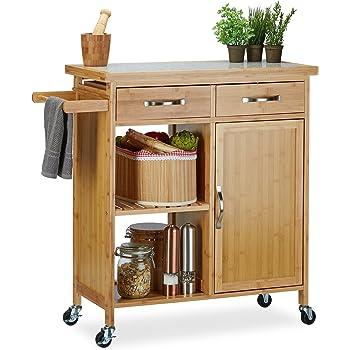 Relaxdays Küchenwagen Holz, Bambus, 4 Rollen, Arbeitsplatte aus ...