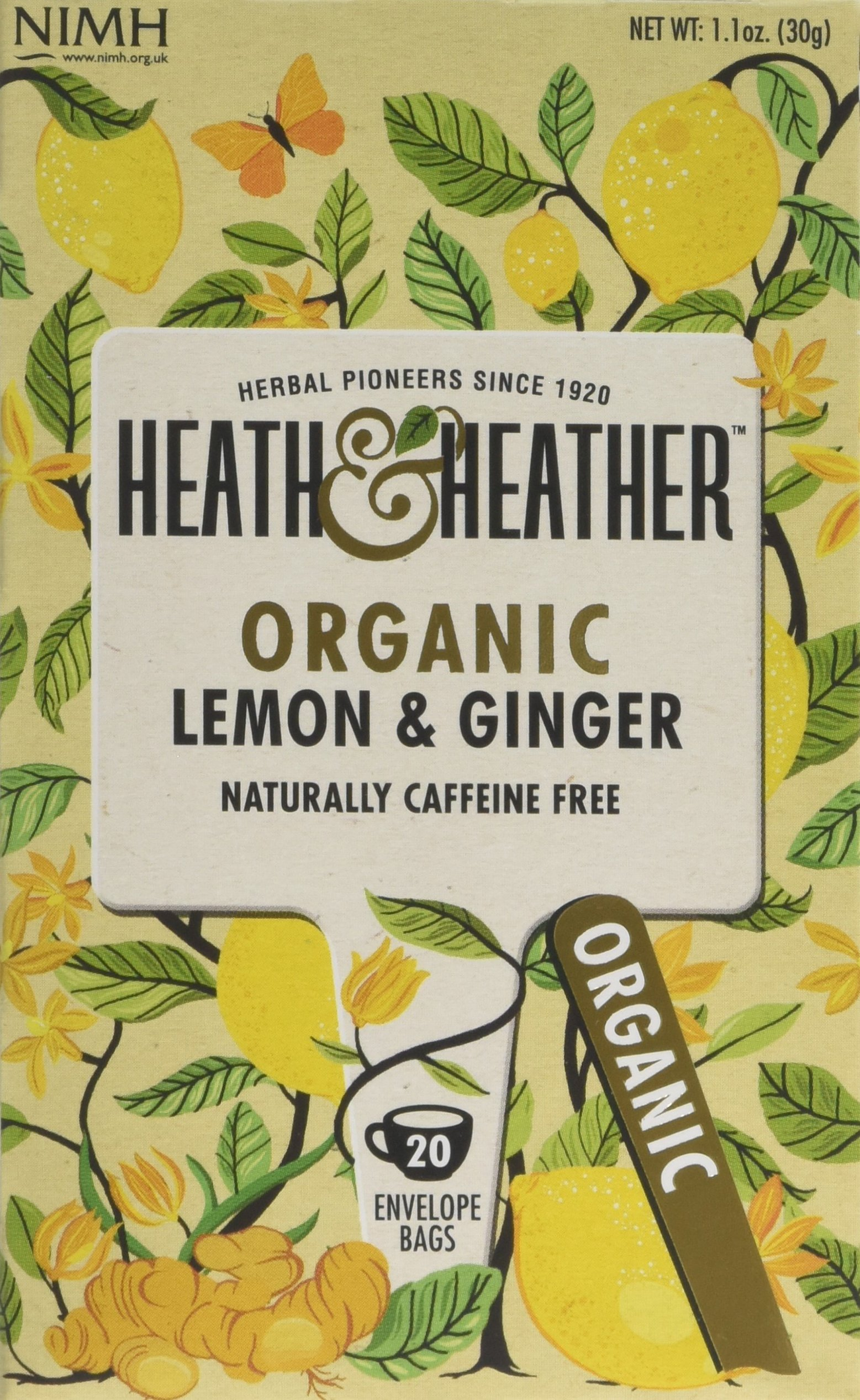Heath & Heather organic lemon and ginger tea bundle (soil association) (infusions) (6 packs of 20 bags) (120 bags) (a fruity, spicy tea with aromas of ginger, lemon) (brews in 3-5 minutes)
