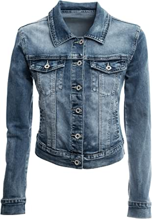 JOPHY & CO. Giacca Jeans Corta Denim Donna Cotone Tasche con Bottoni & Logo Posteriore Bacio Cuore Brillanti (cod. JC028)