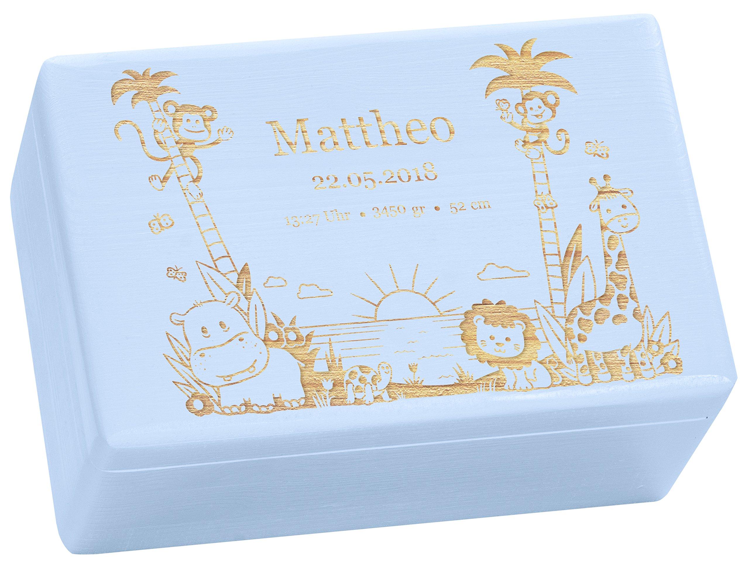 Holzkiste mit Gravur - Personalisiert mit ❤ GEBURTSDATEN ❤ - Blau, Größe M - Dschungel Motiv - Erinnerungskiste als…
