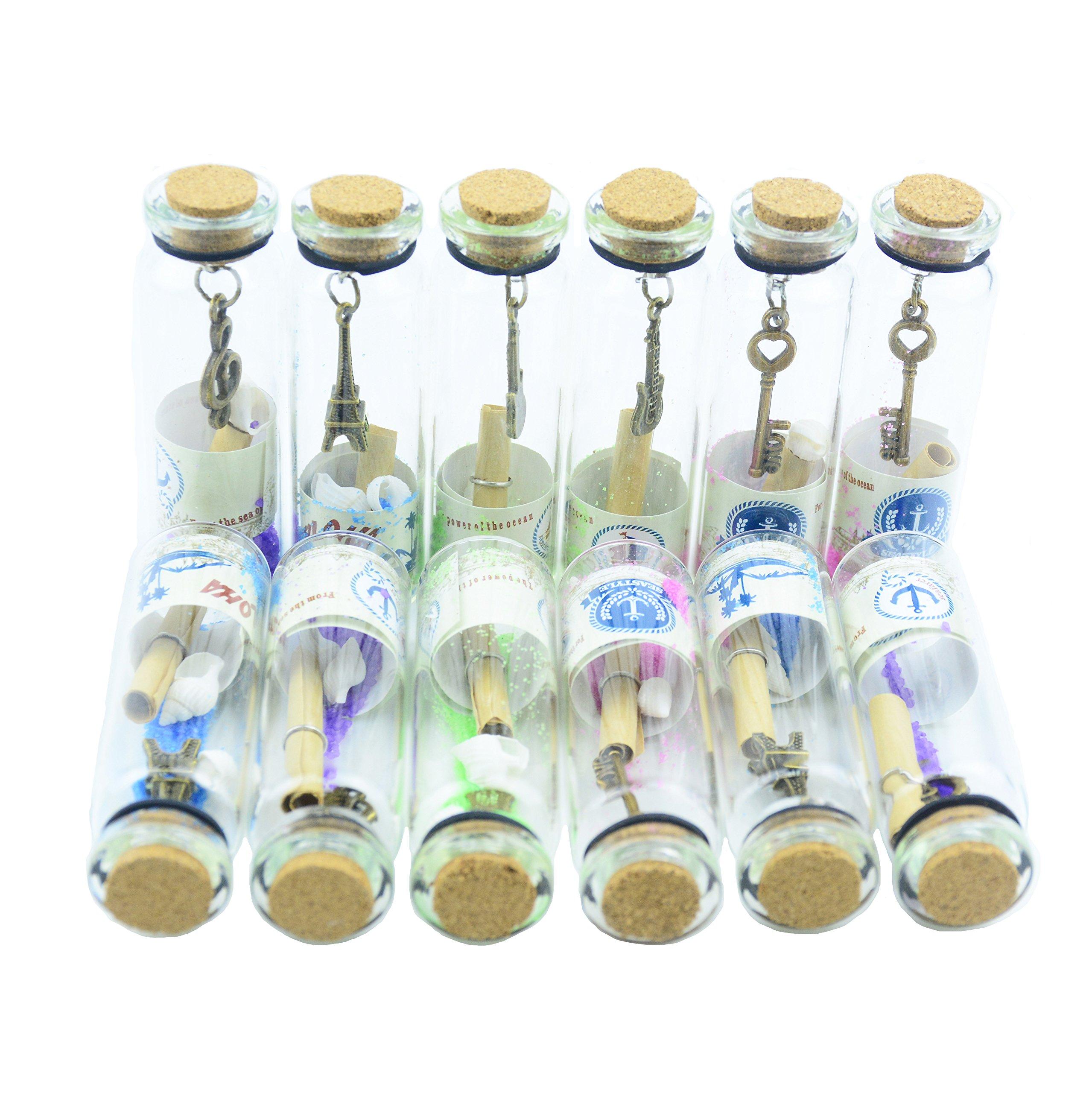Makhry 12PCS retro trasparente in vetro che desiderano bottiglie con tappo in sughero e bronzo antic