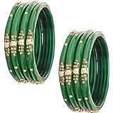NMII Glass and Zircon Gemstone Bangle/Kada set for Women/Girls