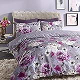 Sleepdown - Copripiumino reversibile con motivo floreale, colore: blu, Cotone Poliestere, Grigio, Doppio