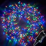 Christmas Lights 2000 LED 24m Multi Action Tree Lights Cluster Lights; 8 Functions with Timer; Indoor/Outdoor - Multi-Colour