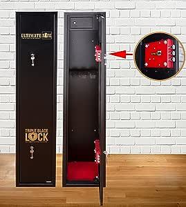Armoire à Fusils Ultimate Safe® Coffre Fort Pour Armes à Feu Pour 5 Carabines, Armoire Avec Serrure Triple Blade Lock