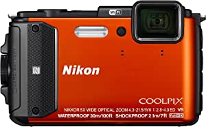 Nikon Coolpix AW130 Digitalkamera (16 Megapixel, 5-Fach Opt. Zoom, 7,6 cm (3 Zoll) OLED-Display, USB 2.0, bildstabilisiert) orange