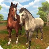 Simulateur de famille de cheval sauvage - jeu de survie de faune de cheval d'animal virtuel