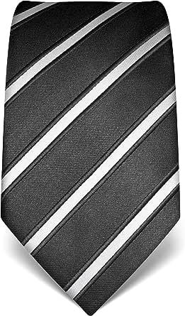 Vincenzo Boretti cravatta elegante classica da uomo, 8 cm x 15 cm, di pura seta di alta qualità, idrorepellente e antisporco, motivo a righe