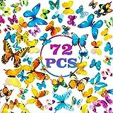 PGFUN Mariposa luminosa 72pcs Colorido Pegatina de pared 3D mural de Arte Artesania bricolaje Removible pegatinas decoracion