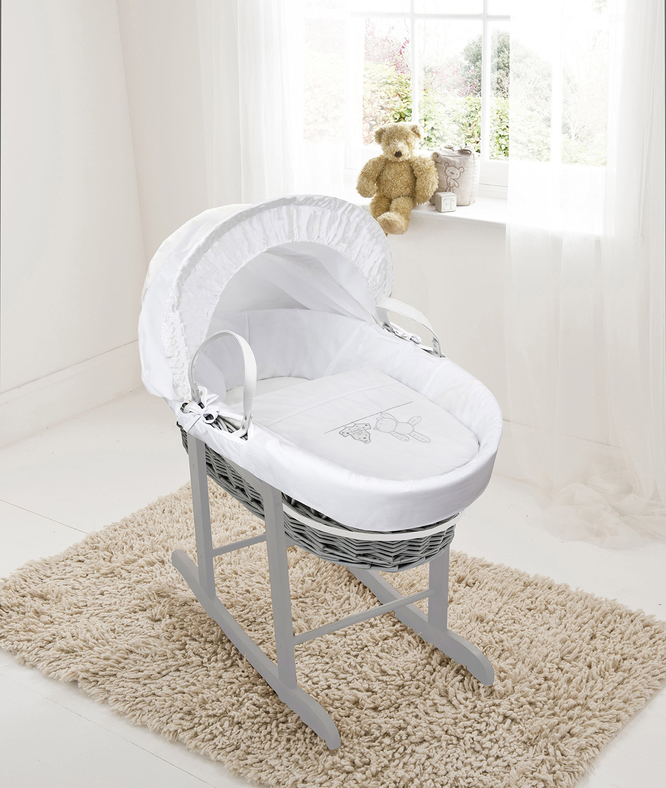 White Teddy Wash Day On Grey Wicker Moses Basket & Deluxe Dove Grey Rocking Stand Elegant Baby Suitable from newborn for up to 9kg, this Moses Basket uses Easy-care Poly Cotton with a soft padding surround Suitable from newborn to 9 months It also includes a comfortable mattress and an adjustable hood perfect to create a cosy sleeping space for your precious little one 1