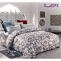 SleepX Winter Comforter King Size Reversible with Fine Microfibres, Floral Grey