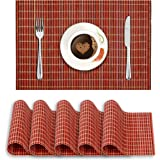 HOKIPO® Reversible Bamboo Placemats Set of 6 Wooden Table Mats, 45 x 30 cm, Red