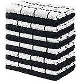 Utopia Towels - 12 Torchons de Cuisine - Serviettes de Cuisine 100% Coton - Lavable en Machine (38 x 64 cm) (Noir et Blanc)