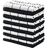 Utopia Towels - 12 Kitchen Towels Set - 38 x 64 cm, Black and White - 100% Ring Spun Cotton Super Soft and Absorbent…