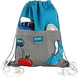 HECKBO® Gymtas met 2 praktische tassen, turquoise/grijs, gymtas, rugzak, sporttas, tas, tas, schoenentas, tas, hipster, meisj