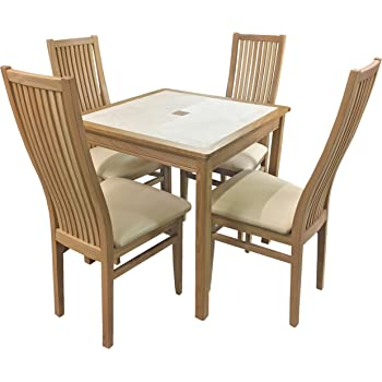5e7d86e2ae9 AnBerCraft Beaumont Range Oyster Tile Top Small Dining Table Set with 4 Cambridge  Chairs