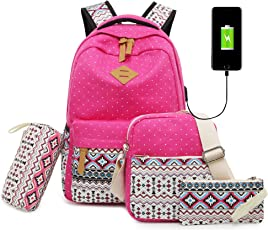 Vezela 4Pc Combo Of Laptop Bag With Usb Charging Feature With Lunch Bag, Pencil Case & Pouch (Pink)
