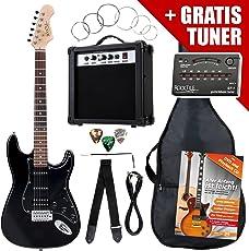 Rocktile ST-Pack Komplettset Power E-Gitarre Schwarz (Verstärker, Stimmgerät, Tremolo, Tasche, Kabel, Gurt, Plecs, Ersatzsaiten und Schule mit CD/DVD)