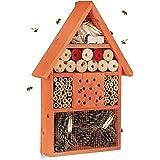 Relaxdays Insektenhotel, Nisthilfe für Wildbienen & Käfer, Deko für Balkon, Garten, HxBxT: 40x 27,5 x 7 cm, Holz, orange