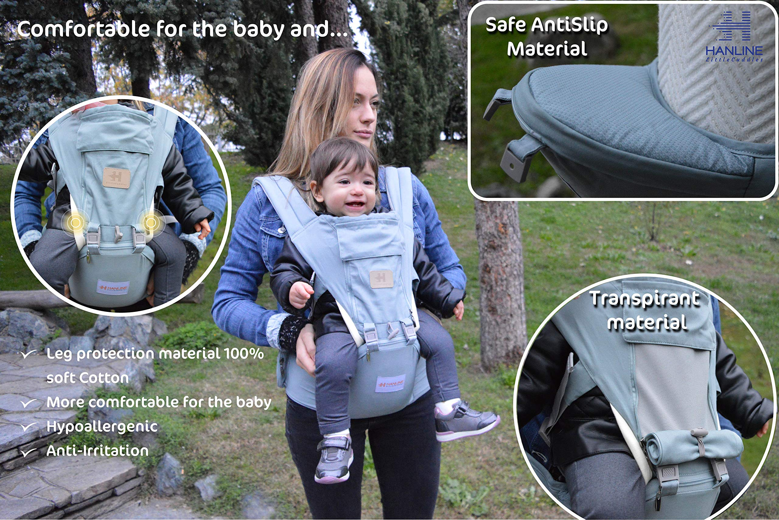 HANLINE LITTLECUDDLES 3-in-1 Ergonomic Baby Carrier Backpack [4 Colours: Turquoise-Blue-Grey] - High Quality/Breathable/Easily Adjustable Fabric - for 0-3 Years Navy Blue (Turquoise) Hanline LittleCuddles 👶 WE ONLY USE HIGH QUALITY MATERIALS: Hanline LittleCuddles is committed to selecting high quality fabrics to make the use of our baby bags more comfortable and safe. The light cotton combined with the soft padded material which is pleasant to the touch increase the comfort of the newborn and parents. On summer days, you can open the front zip which facilitates the passage of air inside the fabric, thanks to the soft breathable mesh fabric. 📃 CERTIFIED AND TESTED SAFETY: The Hanline baby carrier features a soft HIP seat which makes your baby's position ergonomic and safety. In addition, there are various soft fabric parts that eliminate pressure on the baby's body and the wearer. 🔝 3 PRODUCTS IN 1: The ergonomic 3 in 1 baby carrier can be worn in different positions that best adapt to the different stages of growing baby. 2