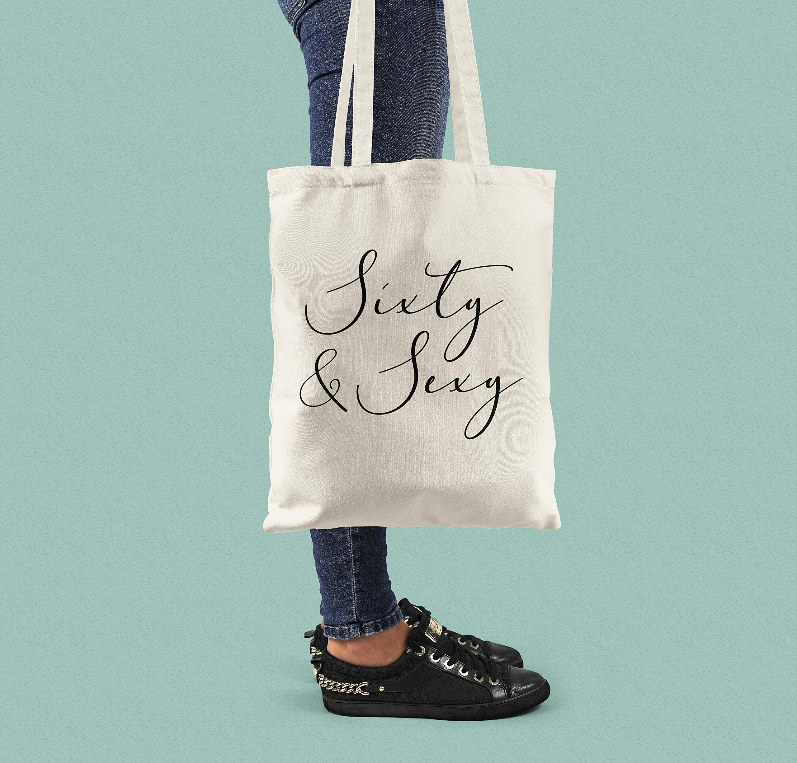60th Birthday Gift for her - Sixty and Sexy Canvas Tote Bag - handmade-bags