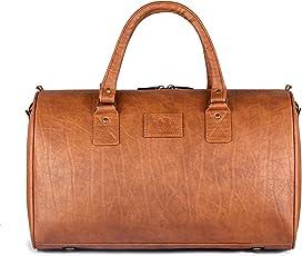 The Clownfish Monarch Duffel Bag 32 Liters | Travel Duffle Bag | Duffle Bag | Leatherette Duffle | Weekender Bag | (Tan)