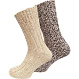 2paia di calzini norvegesi (calze di lana), lavorate a maglia,per uomo e donna