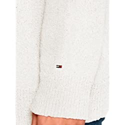 Tommy Jeans Mujer Textured su ter Manga Larga Blanco Snow White 116 Large
