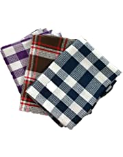 SHOP BY ROOM Waffle Weave Cotton Quick Dry Kitchen/Table/Roti Napkin (18 x 26 inch/Extra Large; Assorted Colour) -Set of 3