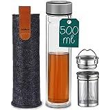 Thermos en Verre - 500ml - Bouteille de Thé avec Infuseur en Acier Inoxydable - Avec Housse en Feutre - Sans BPA