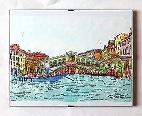 Rialto-Brücke, Venedig-Original-Druck, erstellt von dem Künstler Davide Pacini und handkoloriert mit Aquarell, Größe 26,7 x 20 x 0,1 cm, Material, 300 mg / mq Karte + 30 x 24 cm pro Tag Rahmen-Made in Italy , Toskana Lucca.