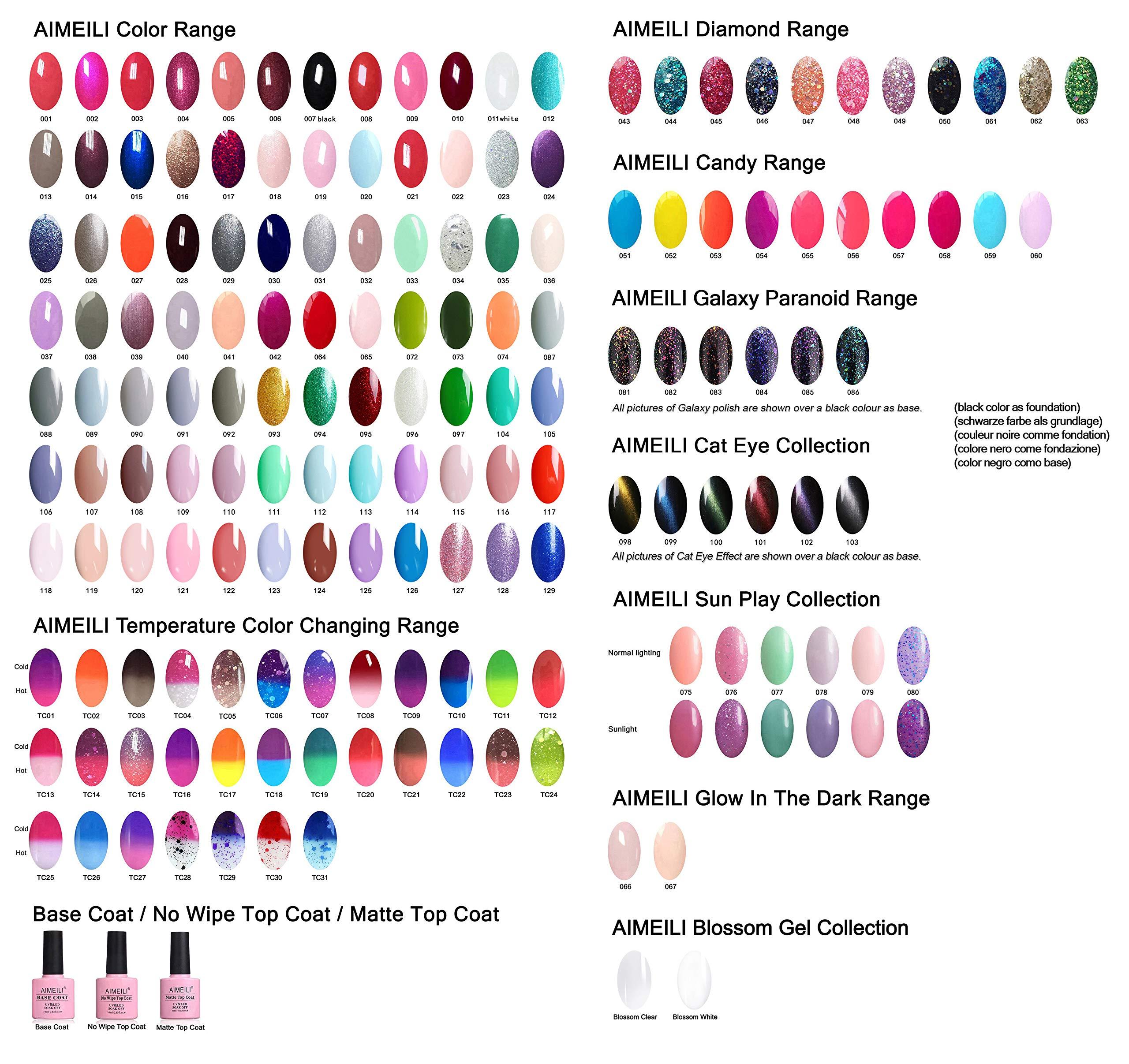 AIMEILI Kit de Esmalte Semipermanente Para Uñas Esmaltes de Uñas Esmaltes en Gel Uñas UV LED Pintauñas Permanente Set de…