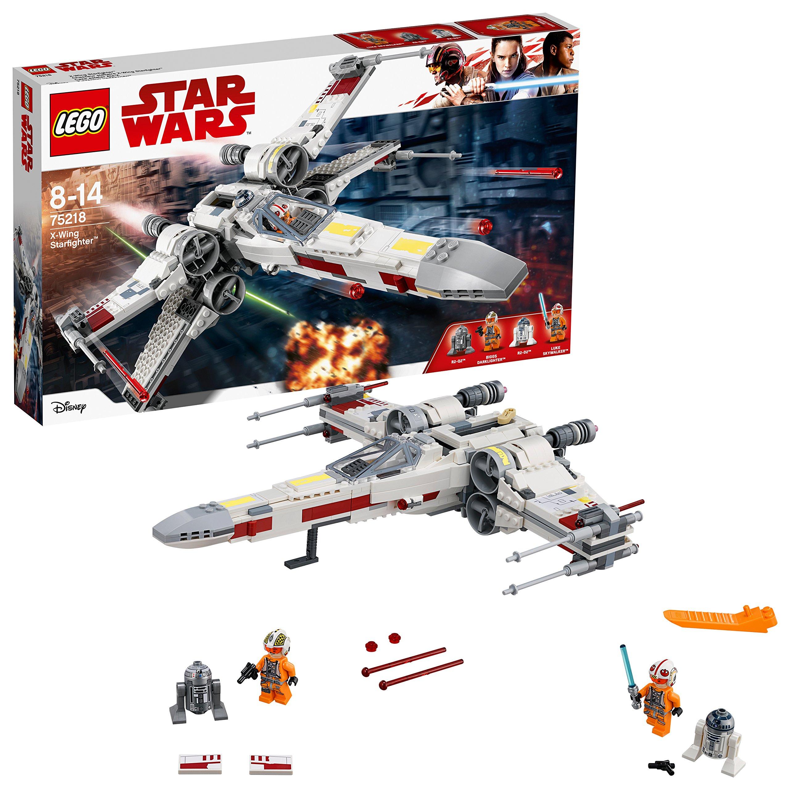 LEGO Star Wars – Caza Estelar Ala X, Juguete de La Guerra de las Galaxias de la Nave X Wing para Construir y Jugar, Incluye Minifiguras de Luke Skywalker, R2-D2 y R2-Q2 (75218)