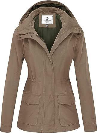 WenVen Giacca Militare Slim Fit in Cotone Giubbotto Casual con Zip Antivento Cappotto Leggera Autunnale Giacchetta Carga Classica Donna