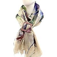 Deliziosa Sciarpa In Modal Fantasia Multicolor Antico Impreziosita Da Chiudi Sciarpa In Velluto Decorato A Mano Con…