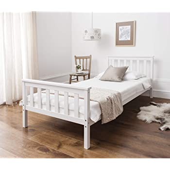 White Wooden 3ft Single Bed Frame: Amazon.co.uk: Kitchen & Home