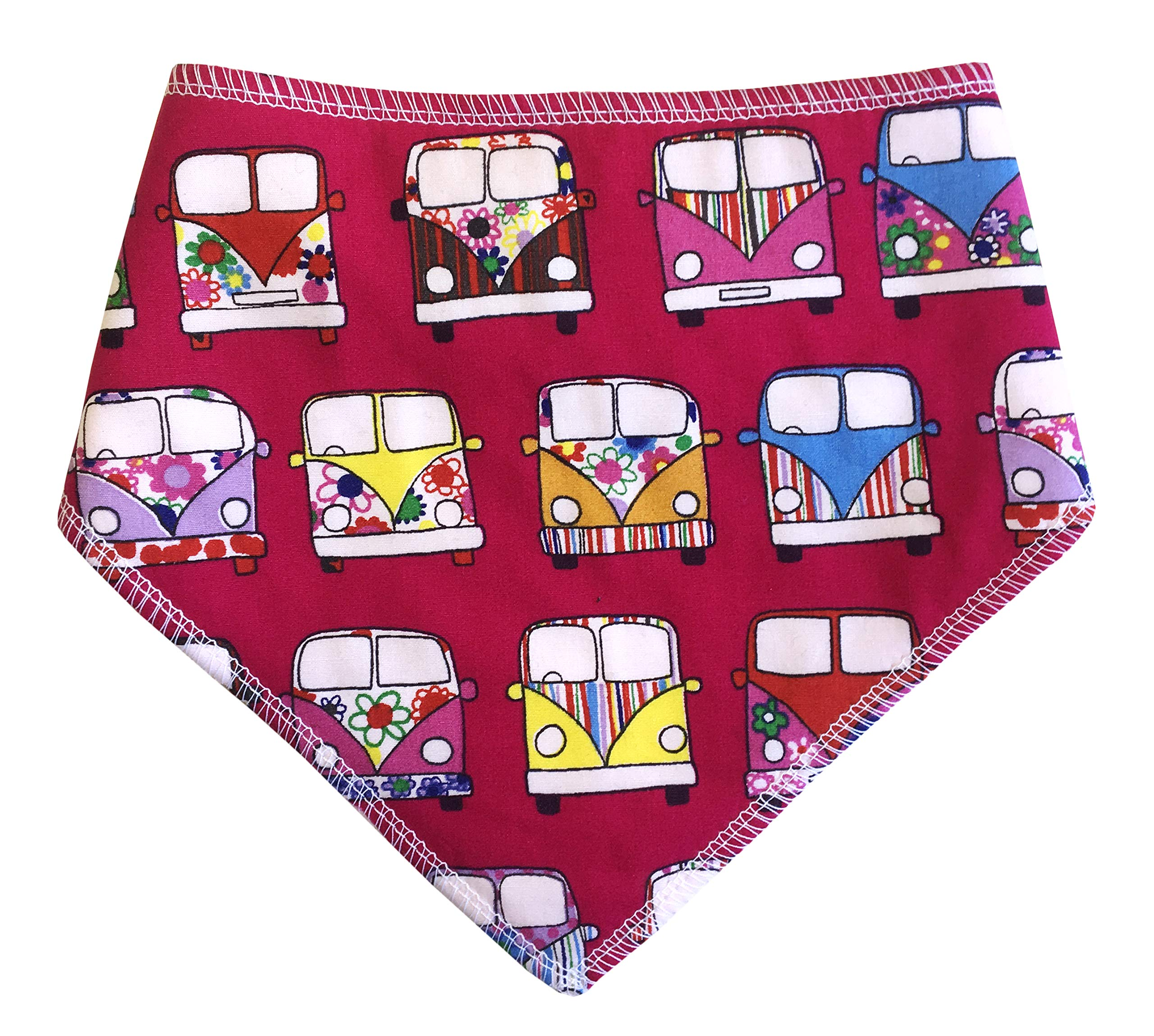 Spoilt Rotten Pets (S4) Cerise Pink VW Camper Fabric Dog Bandana Adjustable Neck to Fit Large to Extra/Large Dogs – Neck Size 23″ – 28″ Generally Fits Chow Chow, German Shepherd, St Bernard, Dogue de Bordeaux and Similar Sized Dogs.