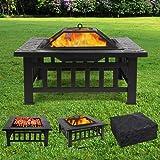 femor Feuerstelle mit Grillrost 81x81x45cm, Multifunktional Fire Pit für Heizung/BBQ, Garten Terrasse Feuerschale…