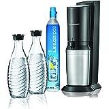 Sodastream Gasatore D'Acqua Frizzante Crystal Mega Pack Black, 2 Bottiglie di Vetro e 1 Cilindro CO2 inclusi