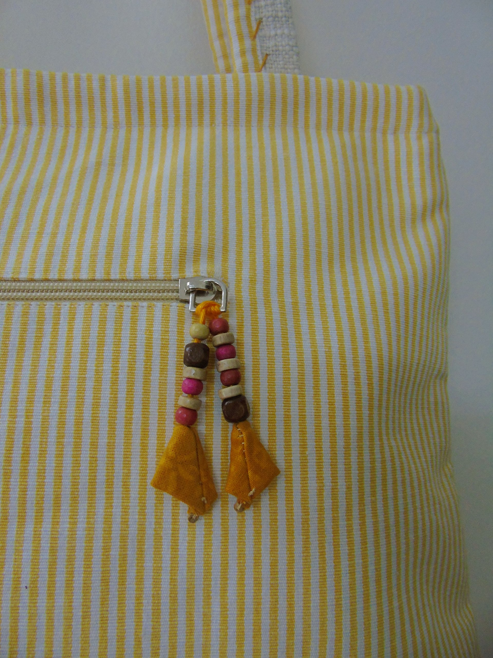 Panigha India Handmade Embroidered Top Handle Tote Bag in Natural color with golden Yellow Pin Stripe - handmade-bags