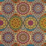 Decoratiestof mandala kleurrijke canvasstoffen decoraties ornamenten - prijs geldt voor 0,5 meter