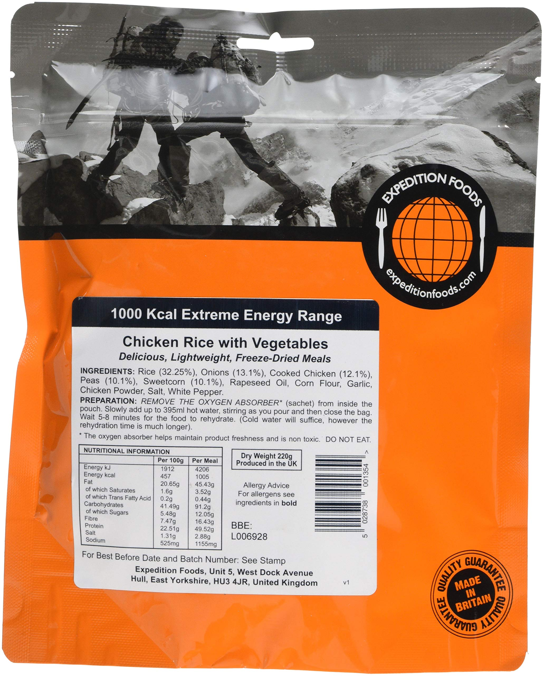 EXPEDITION FOODS expeditionfoods.com Chicken Rice Vegetable 1000kcal