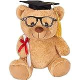 Brubaker Orsacchiotto di Peluche con Occhiali, Diploma e Cappello da Dottore - Giocattolo di Peluche per la Laurea o Gli Stud
