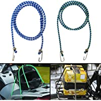Autofy Multipurpose Ultra Flexible Bungee Rope/Luggage Strap/Bungee Cord with 12 MM Diameter and Metal Hooks (Multicolored, Set of 2)