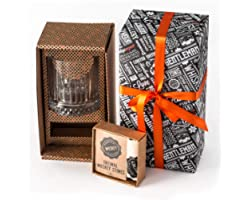 Whisky Gift Set | Large Old Fashioned Whisky Glass | 12pcs Whiskey Stones with Pouch Gift Box | Perfect Idea as Gift for Dad