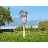 Twin Robin on Spade Handle - Rusty Metal Garden Art - Rusty Metal Bird Gift