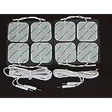 Électrodes pour électrostimulateurs Ensemble de 8 carrés 5cm x 5cm TENS électrodes et une paire de fils conducteurs masculins