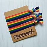 Rainbow stripe Hair Ties Pack of 3, Handmade in Scotland with love.