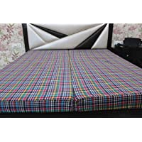 Dream Home Decor Cotton Mattress Cover for Double Bed with Zip/Chain - Multicolour, 75x35x5, Set of 2