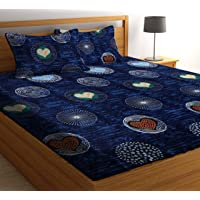 HIYANSHI HOME FURNISHING Glace Cotton King Size Double Bedsheet with 2 Pillow Covers (Blue 8)